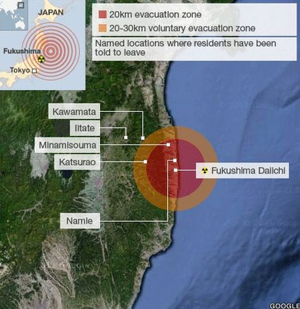 Fukushima evacuation map